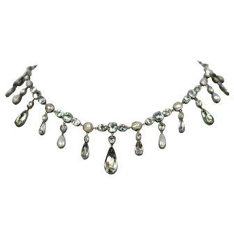 Georgian Aquamarine Pearl Silver Fringe Rivière Necklace circa 1820