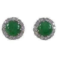 Jade and diamond cluster earrings c.1950