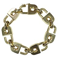 14K Gold Interlocking Padlocks Bracelet Circa 1970