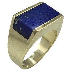 German Lapis Lazuli and 14 Karat Gold Plaque Ring c.1960