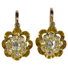 Diamond Gold Dormeuse Drop Cluster Earrings