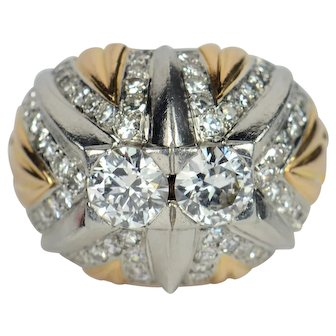 French 18kt gold, platinum and diamond bombé ring c. 1960
