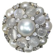 Cat's Eye Moonstone and Cultured Pearl Bombé ring c.1960
