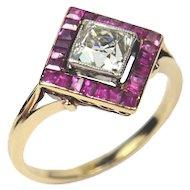 Edwardian 1.20ct diamond and ruby ring c. 1905