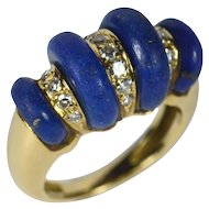 French lapis and diamond ring c. 1970