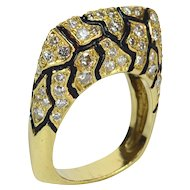 La Triomphe enamel and diamond ring c. 1960
