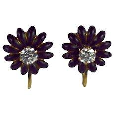 Enamel Diamond Gold Flower Earrings