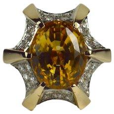 Citrine Diamond Gold Cocktail Ring