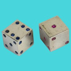 Pair of Silver Ruby Sapphire Dice