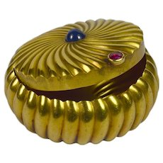 Gold Sapphire Ruby Pill Box