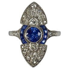 French White Diamond Blue Sapphire Platinum Ring