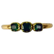 Antique French Green Emerald Yellow Gold Trinity Gimmel Fede Ring
