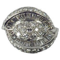 Retro White Diamond Platinum Dome Cocktail Ring