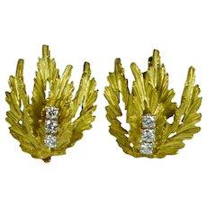 Gold Diamond Leaf Clip Earrings