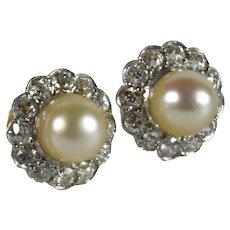 Natural White Pearl Diamond Cluster Stud Earrings