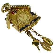 Yellow Gold Cuckoo Clock Charm Pendant