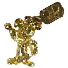 Yellow Gold Walt Disney Mickey Mouse Charm Pendant