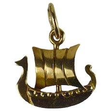 Danish Electroplated Gold Viking Ship Charm Pendant
