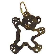 14 Karat Yellow Gold Teddy Bear Charm Pendant
