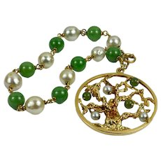 Yellow Gold Pearl Green Nephrite Jade Tree of Life Charm Bracelet Pendant