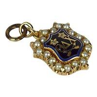 Vintage 14K Yellow Gold Pearl Diamond Enamel Theta Delta Chi Fraternity Charm Pendant