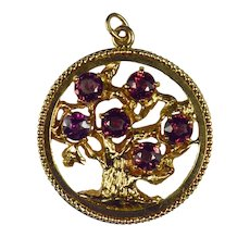 Large Yellow Gold Red Garnet Tree of Life Medallion Charm Pendant