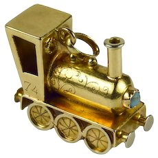 Yellow Gold Gemset Steam Train Engine Charm Pendant