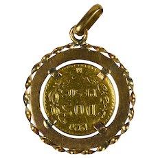 1920 Dos Pesos (Two Peso) Mexican Yellow Gold Coin Charm Pendant