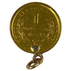Yellow Gold 1849 One Dollar Coin Charm Pendant