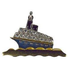 Art Deco Platinum Yellow Gold Enamel Diamond Ocean Liner Charm Pendant