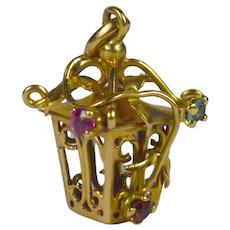 French Yellow Gold Gem Set Lantern Charm Pendant