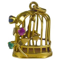 French Yellow Gold Gem Set Bird Cage Stars Charm Pendant