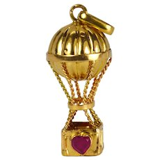 18K Yellow Gold Red Ruby Love Heart Hot Air Balloon Charm Pendant