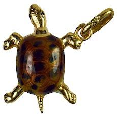 18K Yellow Gold Enamel Turtle Tortoise Charm Pendant