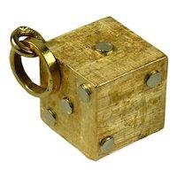 18K Yellow White Gold Gambling Dice Charm Pendant