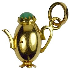 18K Yellow Gold Turquoise Paste Coffee Pot Charm Pendant