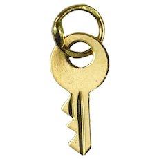 French 18K Yellow Gold Key Charm Pendant