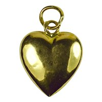 French 18K Yellow Gold Puffy Heart Charm Pendant