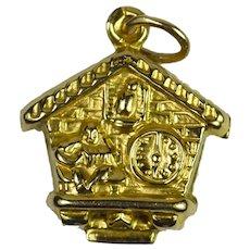 9K Yellow Gold Swiss Cuckoo Clock Charm Pendant