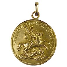 French Yellow Gold St George Coin Charm Pendant