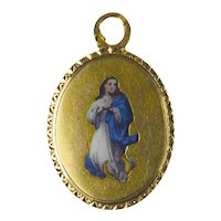 French 18K Yellow Gold Enamel Virgin Mary Charm Pendant