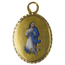 French 18K Yellow Gold Enamel Virgin Mary Charm Pendant