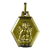 French Vintage ORIA Rolled Gold Raphael Cupid Pendant