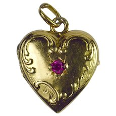 French 18K Yellow Gold Red Ruby Heart Locket Charm Pendant