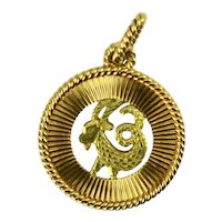 French 18K Yellow Rose Gold Zodiac Capricorn Charm Pendant