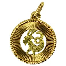 French 18K Yellow Rose Gold Zodiac Capricorn Charm Pendant