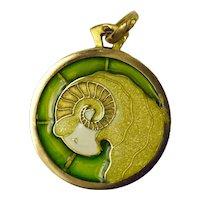 French 18K Yellow Gold Plique a Jour Enamel Zodiac Ares Charm Pendant