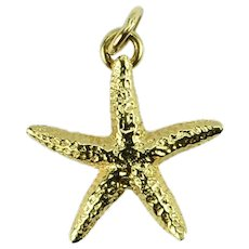 14K Yellow Gold Starfish Charm Pendant