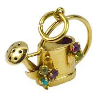 French 18K Yellow Gold Gem Set Watering Can Charm Pendant