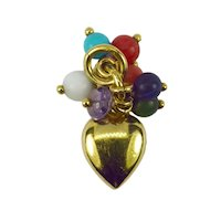 18K Yellow Gold Heart Gem Tassel Charm Pendant